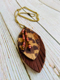 Beaded Pheasant Feather Ayla Earrings & Necklace - Black Cat Crafts