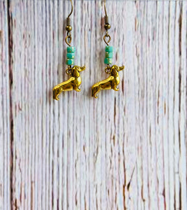 Brass Beaded Wiener Dog Earrings - Black Cat Modern Boho Handmade Jewelry