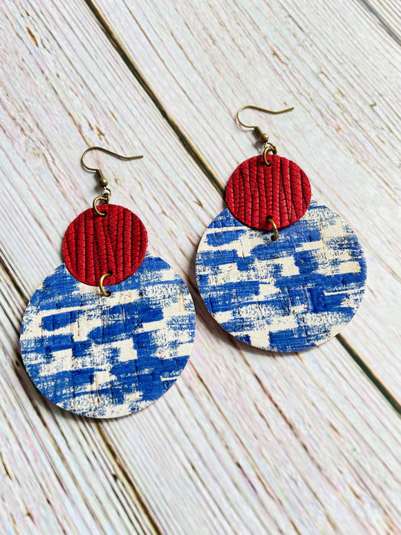 Red White & Blue Cork & Leather Lily Earrings - Black Cat Crafts