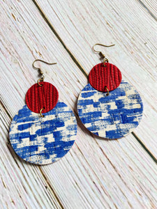 Red White & Blue Cork & Leather Lily Earrings - Black Cat Modern Boho Handmade Jewelry