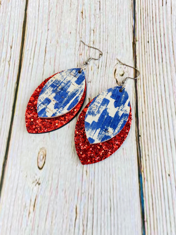 Red White & Blue Brushstroke Deryn Earrings - Black Cat Modern Boho Handmade Jewelry
