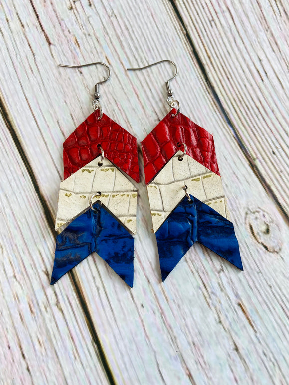 Red White & Blue Ela Leather Earrings - Black Cat Crafts