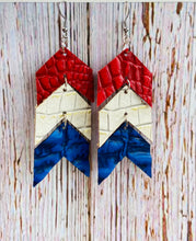 Red White & Blue Ela Leather Earrings - Black Cat Modern Boho Handmade Jewelry