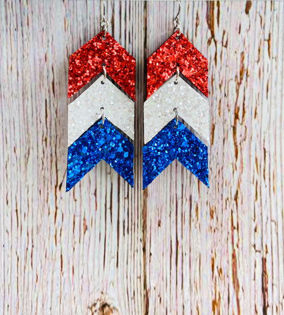 Red White & Blue Chevron Glitter Ela Earrings - Black Cat Modern Boho Handmade Jewelry