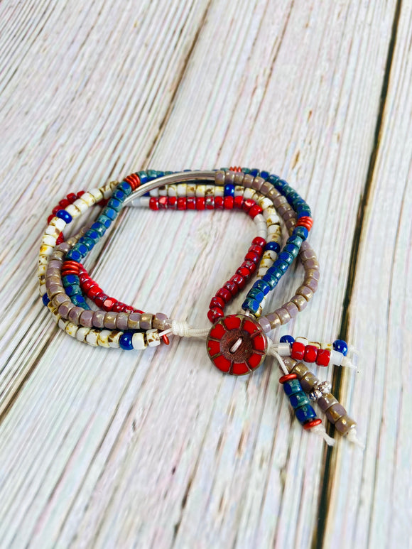 Red, White & Blue Four Strand Beaded Bracelet - Black Cat Crafts Handmade Jewelry