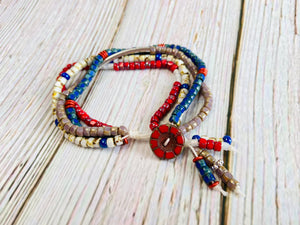 Red, White & Blue Four Strand Beaded Bracelet - Black Cat Modern Boho Handmade Jewelry