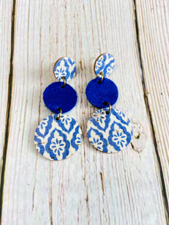 Blue Turkish Tile Terra Earrings - Black Cat Modern Boho Handmade Jewelry
