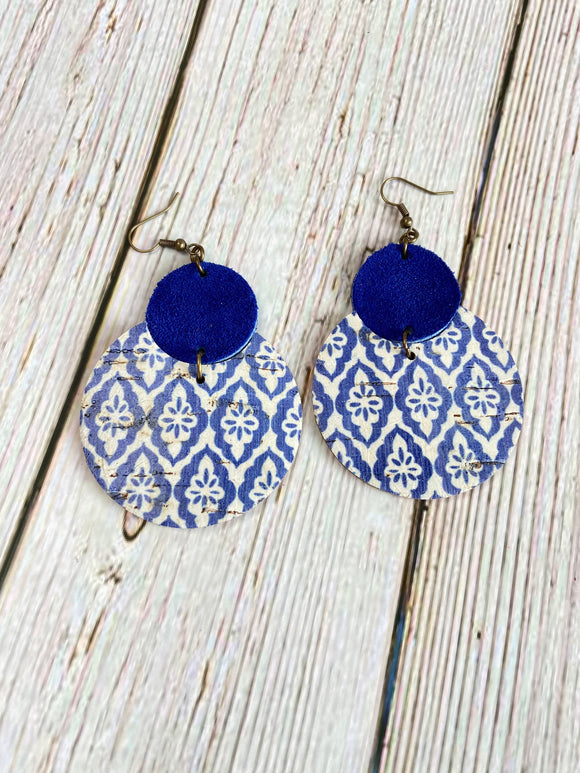 Blue & White Turkish Tile Lily Earrings - Black Cat Modern Boho Handmade Jewelry
