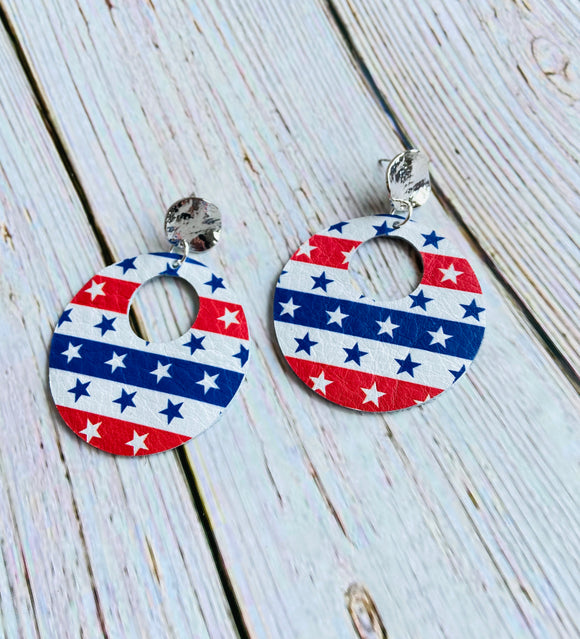 Stars & Stripes Ayla Leather Earrings - Black Cat Crafts