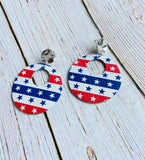 Stars & Stripes Ayla Leather Earrings - Black Cat Crafts Handmade Jewelry