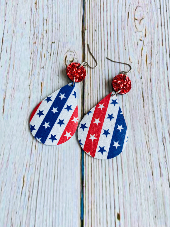 Stars & Stripes Lyn Leather Earrings - Black Cat Crafts Handmade Jewelry