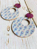 Reversible Vegan Cork Peacock Print Ayla Earrings - Black Cat Crafts Handmade Jewelry