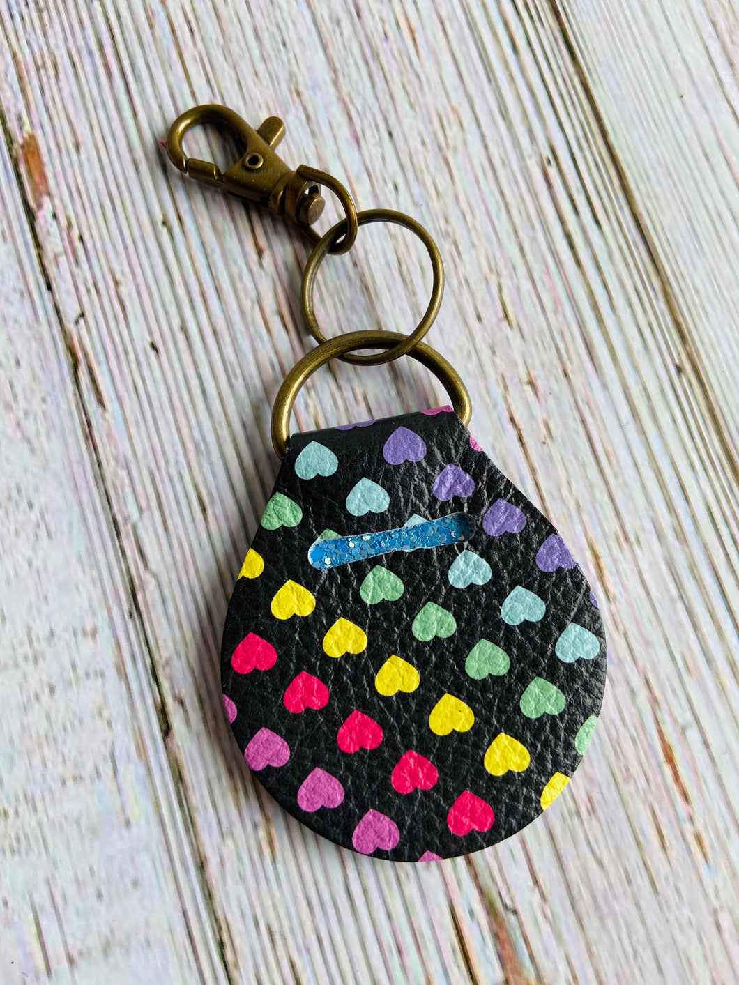 Rainbow Heart Genuine Leather Quarter Keeper Keychain - Black Cat Modern Boho Handmade Jewelry