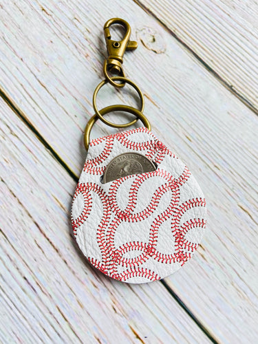 Baseball Genuine Leather Quarter Keeper Keychain - Black Cat Modern Boho Handmade Jewelry
