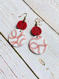 Genuine Leather Baseball Lover Earrings - Black Cat Crafts Handmade Jewelry