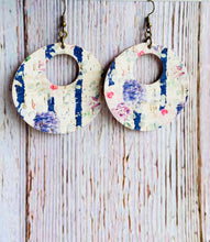 Navy Stripe & Floral Print Cork Ayla Earrings - Black Cat Modern Boho Handmade Jewelry