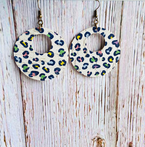 Pastel Leopard Print Cork Ayla Earrings - Black Cat Modern Boho Handmade Jewelry