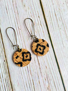 Mini Aztec Cork Circle Drop Earrings - Black Cat Modern Boho Handmade Jewelry