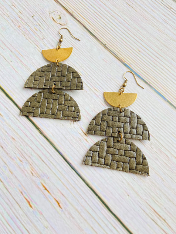 Embossed Weave Leather Drops - Black Cat Crafts