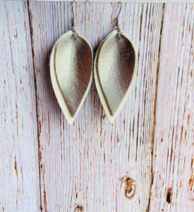 Yara White & Metallic Leather Earrings - Black Cat Modern Boho Handmade Jewelry