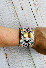 Genuine Leather Cuff Bracelet in Bright Aztec - Black Cat Modern Boho Handmade Jewelry