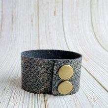 Cuff Bracelet in Green, Black & Tan Snakeskin Genuine Leather - Black Cat Modern Boho Handmade Jewelry