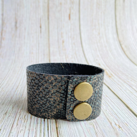 Cuff Bracelet in Green, Black & Tan Snakeskin Genuine Leather - Black Cat Crafts Handmade Jewelry
