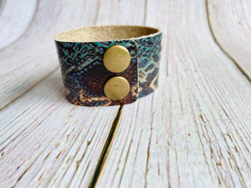 Genuine Leather Cuff Bracelet in Teal & Tan Snakeskin - Black Cat Modern Boho Handmade Jewelry
