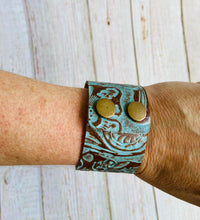 Genuine Leather Cuff Bracelet in Turquoise Western Tool - Black Cat Modern Boho Handmade Jewelry