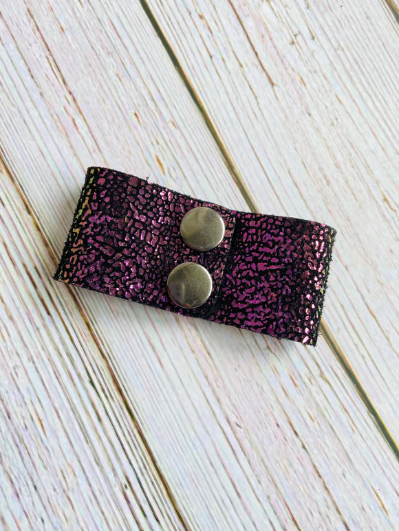 Cuff Bracelet in Purple & Black Metallic Stingray Leather - Black Cat Crafts Handmade Jewelry