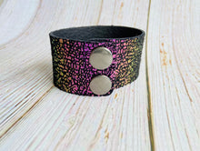 Cuff Bracelet in Purple & Black Metallic Stingray Leather - Black Cat Modern Boho Handmade Jewelry