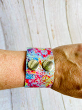 Genuine Leather Cuff Bracelet in Tie Dye - Black Cat Modern Boho Handmade Jewelry