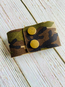 Genuine Leather Cuff Bracelet in Suede Camo - Black Cat Crafts Handmade Jewelry