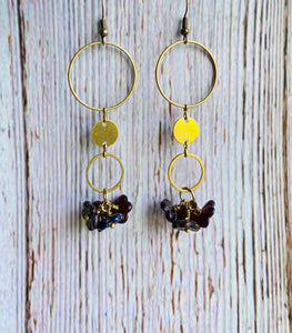 Brass Bouquet Earrings - Black Cat Modern Boho Handmade Jewelry
