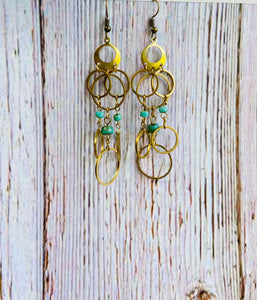 Turquoise Chandelier Ring Earrings - Black Cat Modern Boho Handmade Jewelry