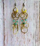 Turquoise Chandelier Ring Earrings - Black Cat Crafts