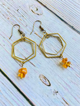 Beaded Amber Hex Earrings - Black Cat Modern Boho Handmade Jewelry