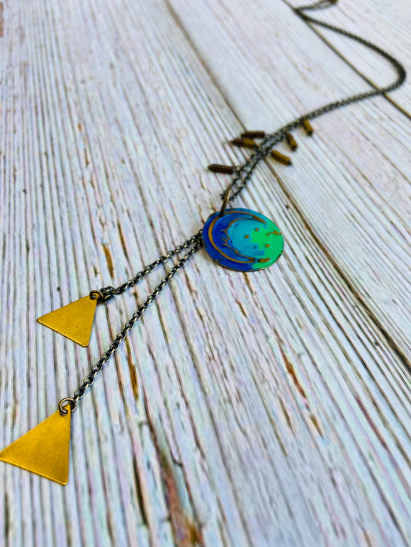 Triangle Moon Necklace - Black Cat Crafts Handmade Jewelry