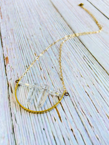 Crystal Point Arc Necklace - Black Cat Modern Boho Handmade Jewelry
