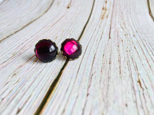 Vintage Glass Studs - Black Cat Crafts