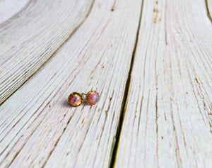 Vintage Glass Tiny Studs - Black Cat Modern Boho Handmade Jewelry