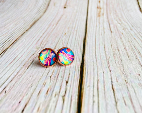 Rainbow Swirl Studs - Black Cat Crafts