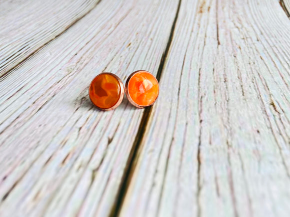 Faux Amber Studs - Black Cat Crafts Handmade Jewelry