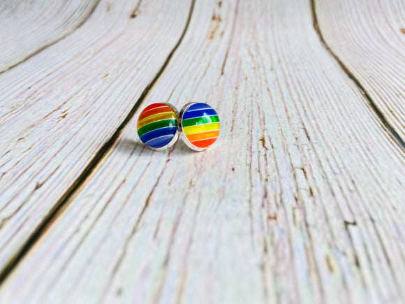 Rainbow Stripe Studs - Black Cat Crafts