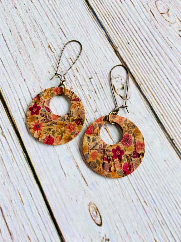 Mini Ayla Reversible Vegan Cork Floral Earrings - Black Cat Crafts Handmade Jewelry