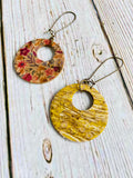 Mini Ayla Reversible Vegan Cork Floral Earrings - Black Cat Crafts