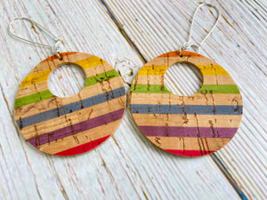 Reversible Vegan Cork Striped Ayla Earrings - Black Cat Modern Boho Handmade Jewelry