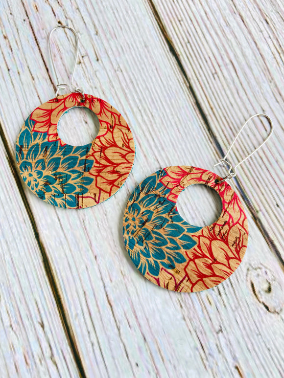 Bright Floral Vegan Cork Reversible Ayla Earrings - Black Cat Crafts Handmade Jewelry
