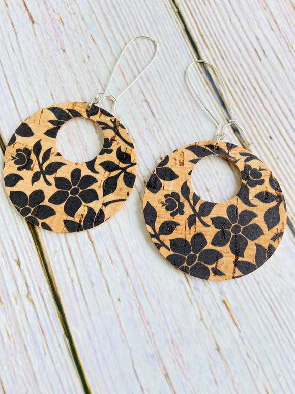 Black Floral Vegan Cork Reversible Ayla Earrings - Black Cat Crafts Handmade Jewelry