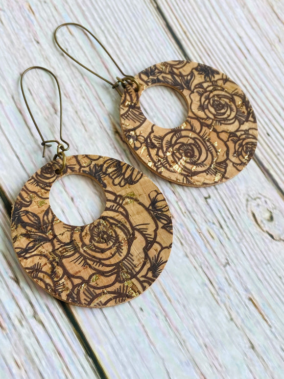 Black Rose Vegan Cork Reversible Ayla Earrings - Black Cat Crafts Handmade Jewelry